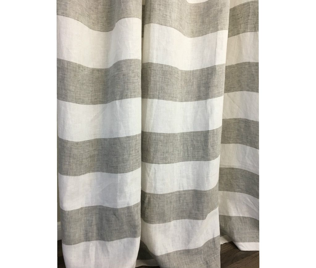 Grey And White Cabana Striped Linen Shower Curtain Linen Curtains Striped Curtains Custom Curtains