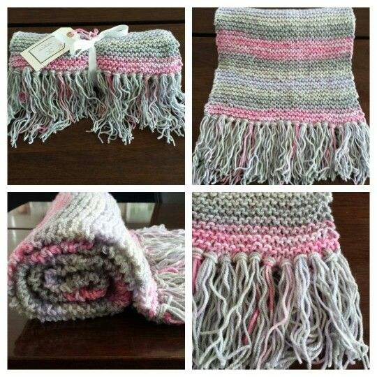 Hand knitted scarf in mixed coloured pink and grey