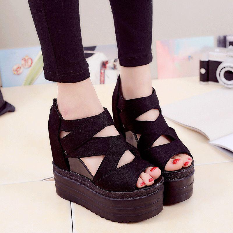 8ad4f4c123b 2017 Korean Women Platform Shoes Gladiator Fish Head Woman Sandals Summer  Hollow Out Weave Wedge Ladies