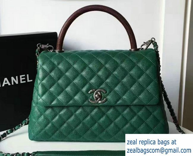 8da920792428 Chanel Coco Grained Calfskin Flap Bag With Lizard Handle A92990 ...