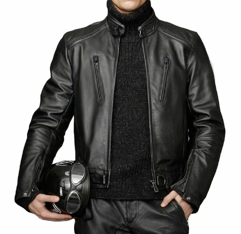 MARIYAM Leather Mens Leather Jacket Black Slim Fit Biker Motorcycle Genuine Lambskin Coat