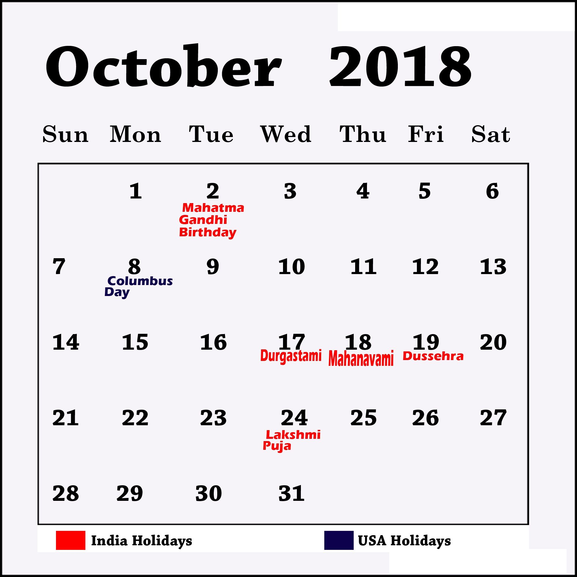 blank october 2018 calendar table with holidays