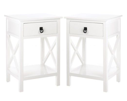 2 Nightstands White Wood One Drawer And Shelf Side Table Nautical Decor White Nightstand White End Tables Bar Set Furniture
