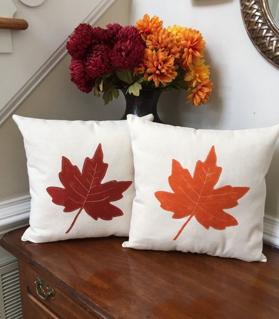 Fall decorative pillows, Leaf appliqué pillows, autumn applique pillow set, decorative fall pillows #diyfalldecor
