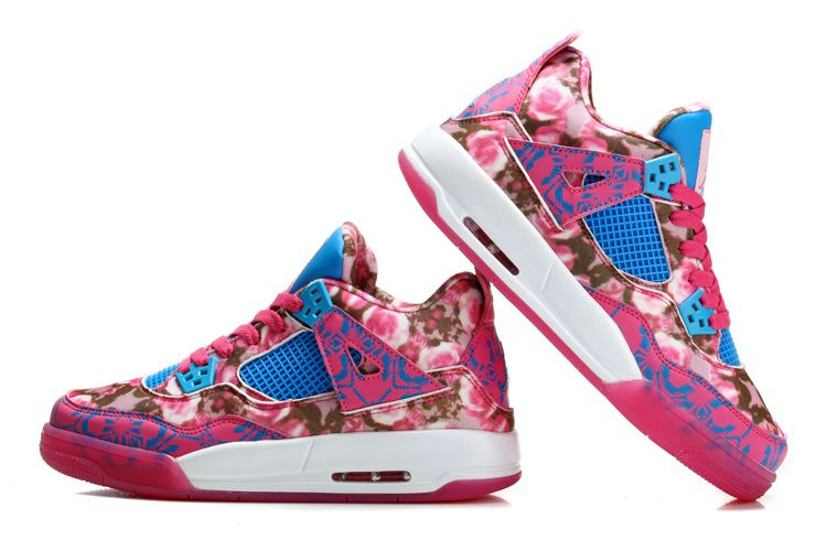 "huge discount 5e5e9 18686 Womens Air Jordan 4 Retro GS ""Rose"" Cherry Pink Dynamic Blue-White ."