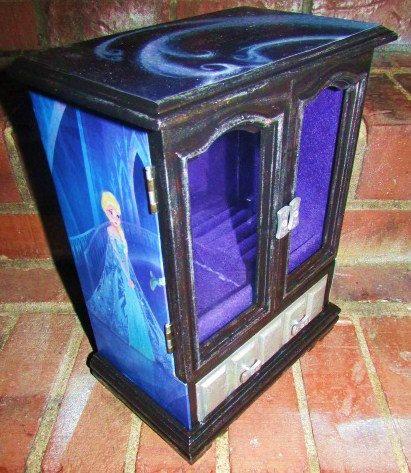 Custom wooden Jewelry Box Decoupage with Disney Frozen Queen Elsa