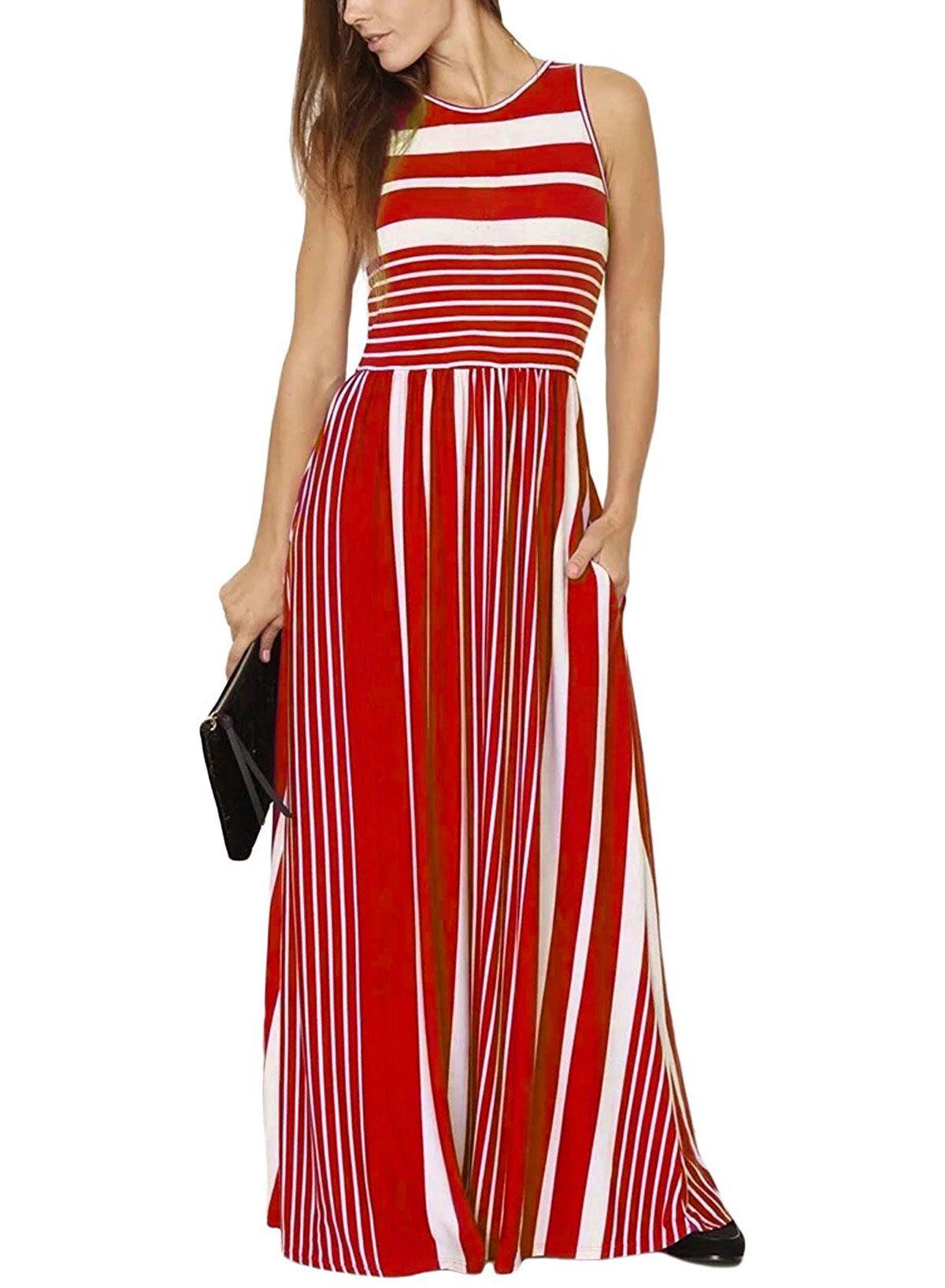 Women Striped Maxi Dress Sleeveless Pocket High Waist Summer Boho Beach Long Dress Red Maxi Dress Printed Maxi Dress Loose Maxi Dress [ 1636 x 1200 Pixel ]