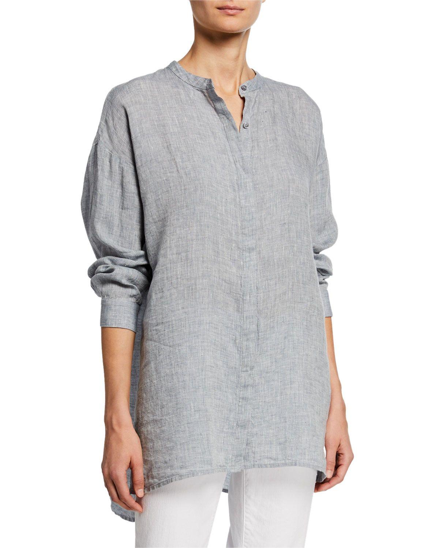 Eileen Fisher Mandarin Collar Button Front Long Sleeve Hanky Linen Shirt Linen Shirt Mandarin Collar Eileen Fisher