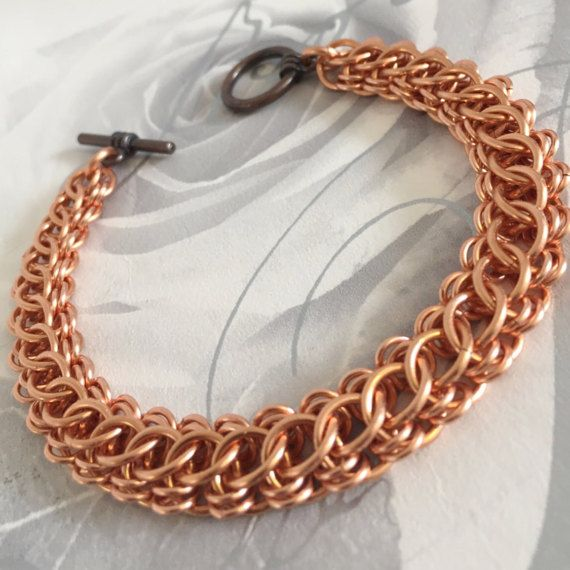 Copper Bracelet Men Copper Chainmaille by JCLeecollection on Etsy