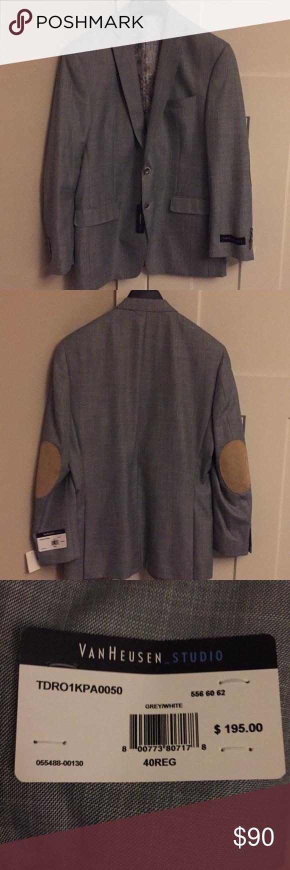 Van Heusen light gray sportscoat with elbow patch NWT