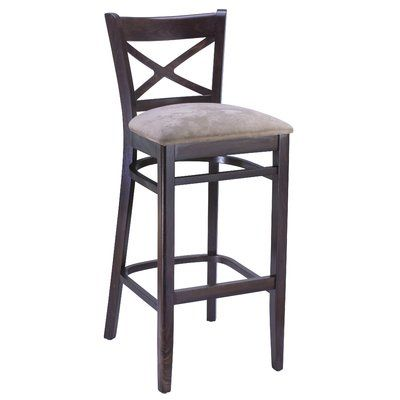 August Grove Helsley Cross Back Bar Counter Stool Seat Height Bar Stool 30 Seat Height Colour Walnut Upholstery Grey Upholstered Bar Stools Bar Stools Rustic Bar Stools