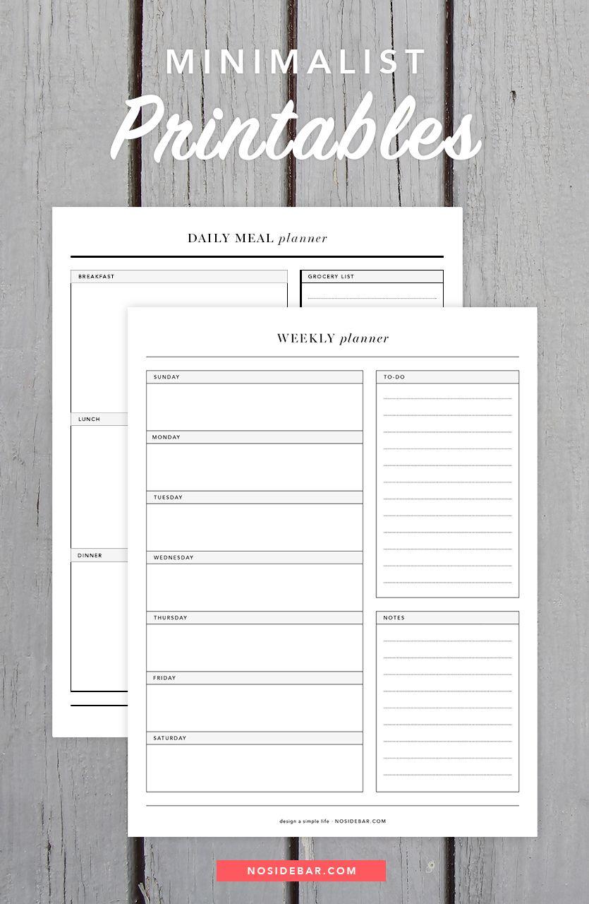 Free Minimalist Printables Planner Minimalist Planner Printables Free Weekly Planner Printable
