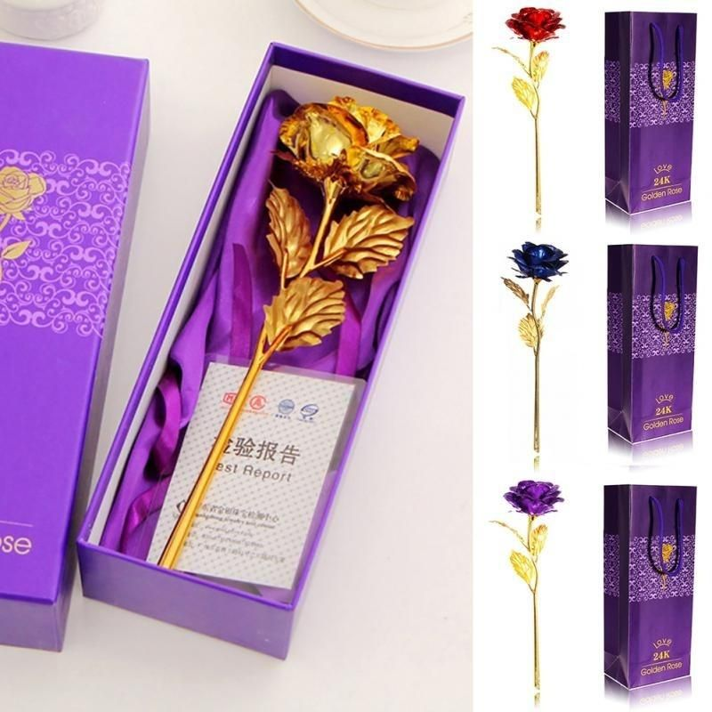 24k Gold Plated Golden Rose Flower For Valentine S Day Lovers Gift