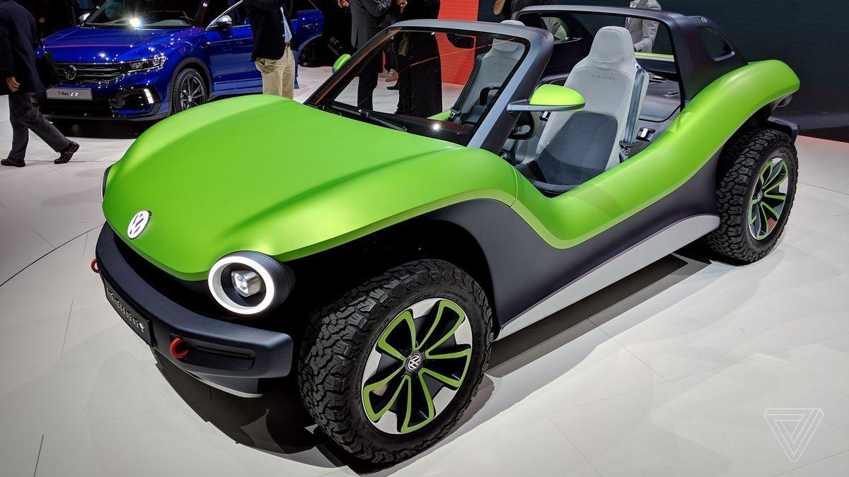 Vw Id Buggy Matte Green Looks V Good With Black Campervan Decals Idea Dune Buggy Buggy Volkswagen