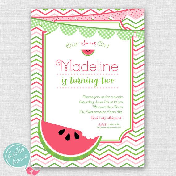 Watermelon Party Printable Birthday Invitation By Hellolovedesigns