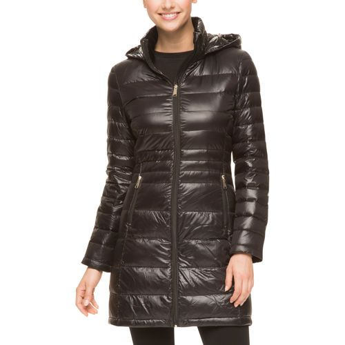 Andrew Marc Ladies' Featherweight Long Packable Down Jacket-Black