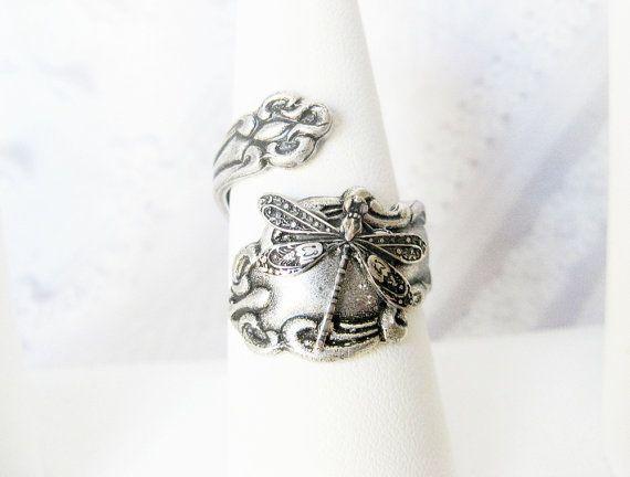 Spoon Ring  Silver Dragonfly Spoon Ring  Original by birdzNbeez, $24.00