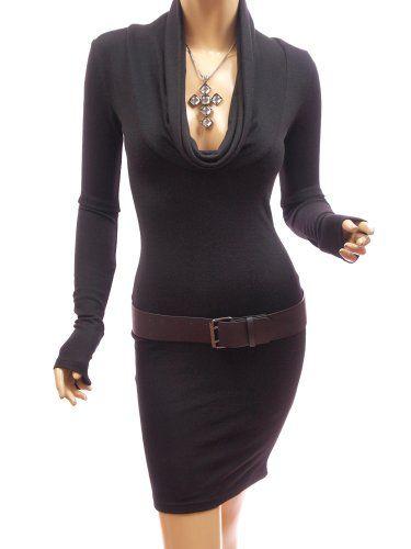 Patty Women Sexy Drape Cowl Neck Long Sleeve Party Knit Dress