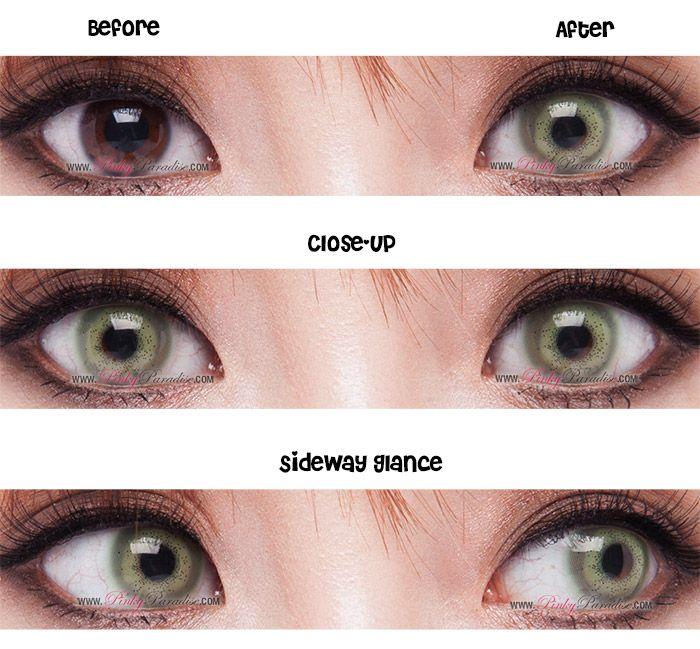 Princess Pinky Gemini Night Green Monthly Makeup Get Long Eyelashes Circle Contact Lenses