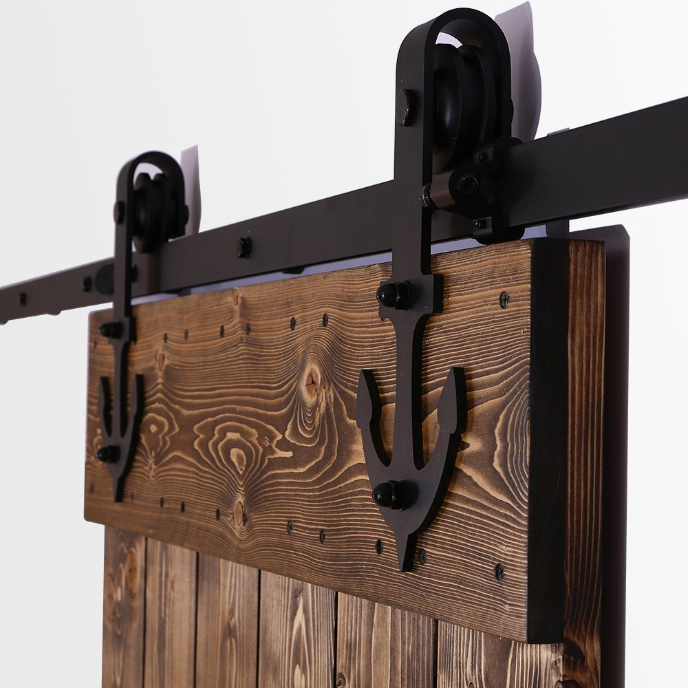 Anchor Style 6ft~16ft Sliding Barn Door Hardware Rustic Black ...
