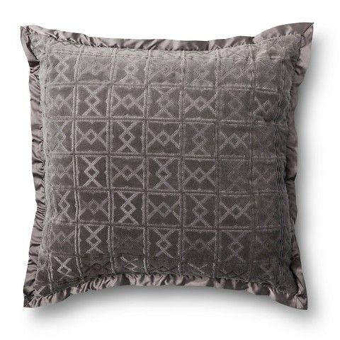 Fieldcrest Luxury Velvet Decorative Pillow Gray Euro Rachels Inspiration Fieldcrest Decorative Pillows