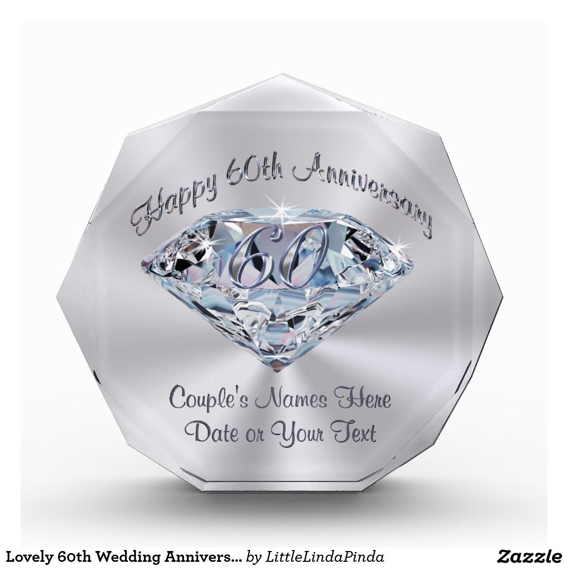 The Metal Foundry 60th Diamond Wedding Anniversary Sundial Gift Idea is A Great Present for Him, for Her Or for A Couple to Celebrate 60 Years of Marriage.