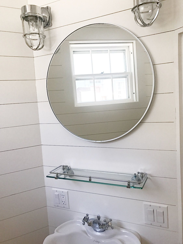 Ship lap bathroom, powder room, nautical wall sconces, round mirror ...