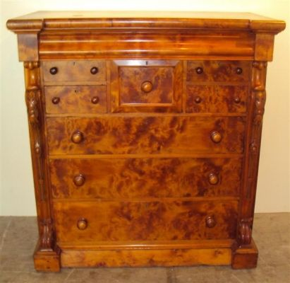 Colonial Huon Pine Nine Drawer Chest Of Drawers Cross Banded Top With Extensive Birdseye Featured
