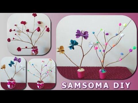 الاستفادة من اغصان الشجر لعمل مزهريات ورد روعة لغرف البنات Diy Tree Branches Ideas Youtube Dekoration