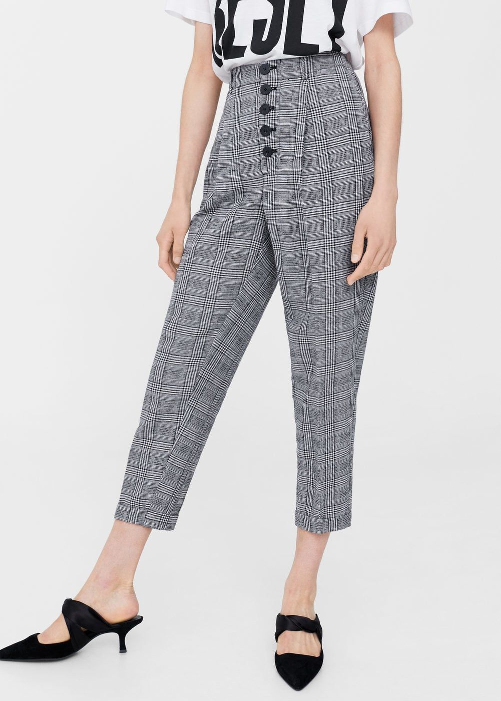 03a52654e3 Prince of wales trousers | MANGO Checked Trousers, Pantsuits For Women,  Comfy Pants,