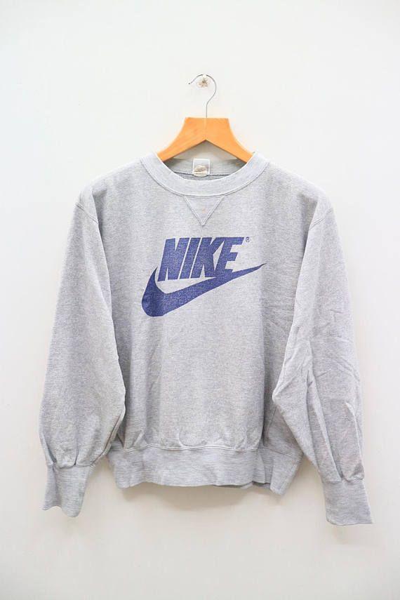 127baf5115d65 Vintage NIKE Big Logo Big Spell Sportswear Gray Pullover Sweatshirt ...
