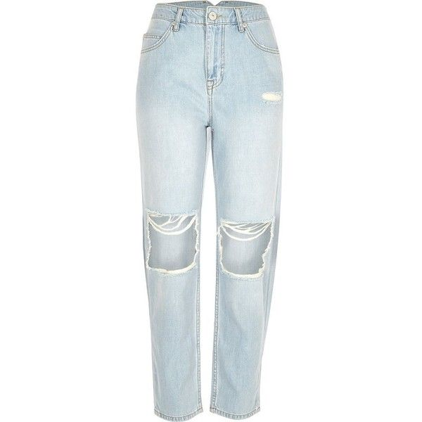 0900f110cc River Island Light blue wash ripped Mom jeans (2.415 RUB) ❤ liked on  Polyvore featuring jeans