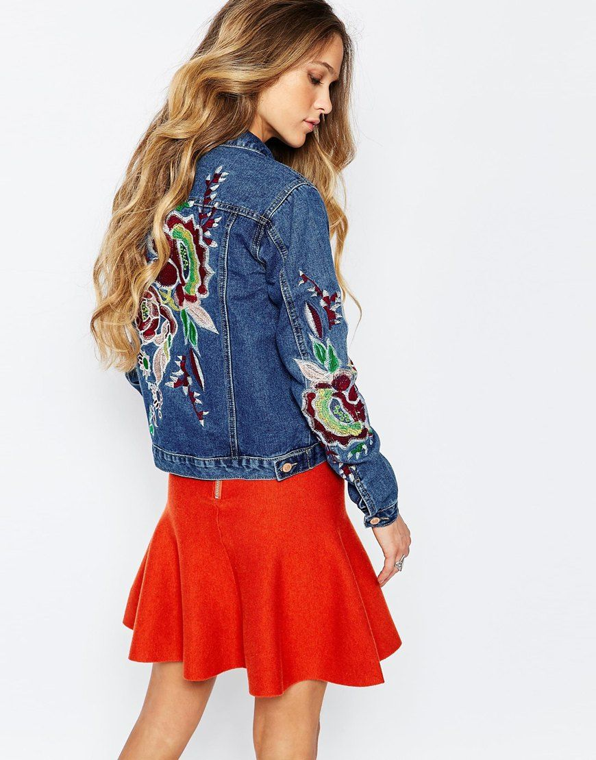 Glamorous Tall Embroidered Denim Jacket