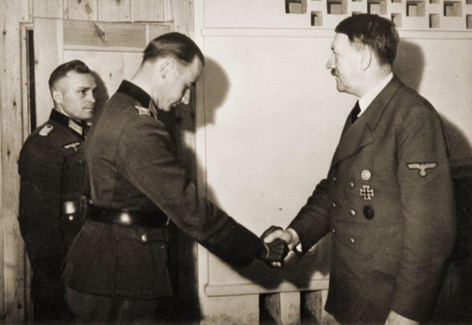Adolf Hitler at Eichenlaub ceremony for Luftwaffe aces, 30 October 1942. Here Hitler shaking hands with Johannes Steinhoff