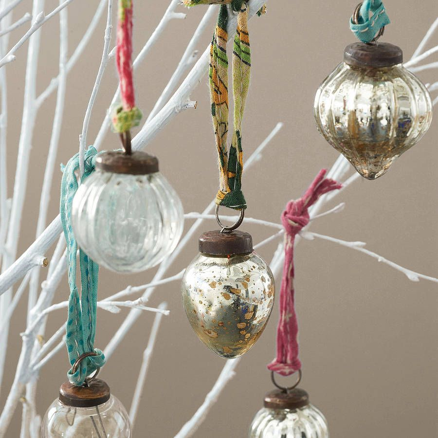 Set Of 12 Recycled Glass Baubles (With images) | Glass bauble, Silver tea light holders, Xmas ...