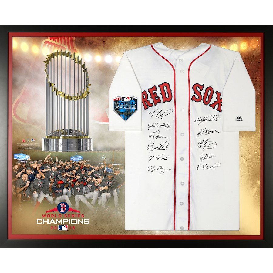 100fefaee33 Boston Red Sox Fanatics Authentic 2018 MLB World Series Champions Framed  Autographed Majestic White Authentic Jersey Collage with at least 10  Signatures ...