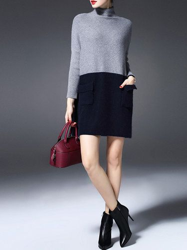 Gray Turtleneck Cashmere Raglan Sleeve Sweater Dress