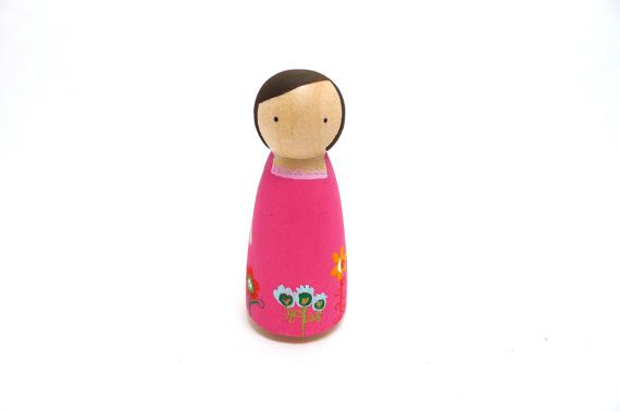 Wooden Peg Doll Pink Floral Dress Girl by abbyjac on etsy