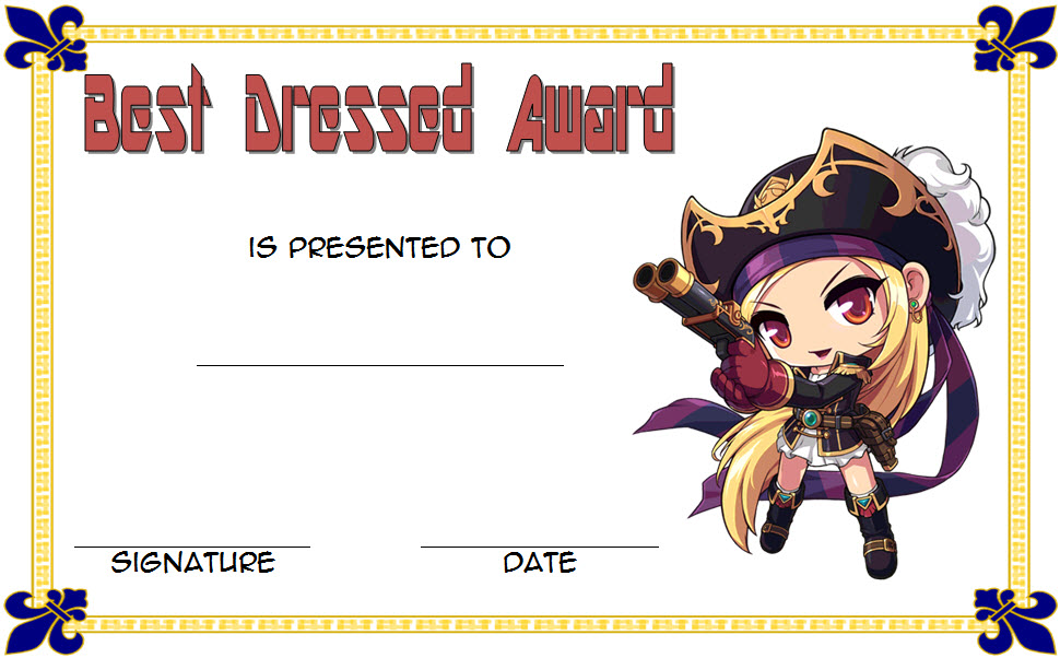 This Best Dressed Award Certificate Template FREE 3 has a