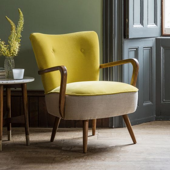 Calvin Armchair In Mustard Yellow Velvet And Linen Chairs