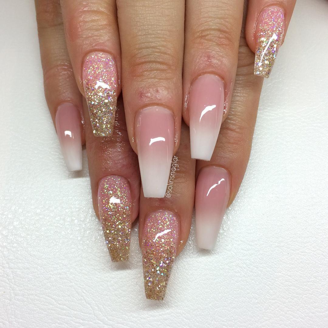 French Ombre Med Glitterombre I Rosa Och Guld The Nail Salon