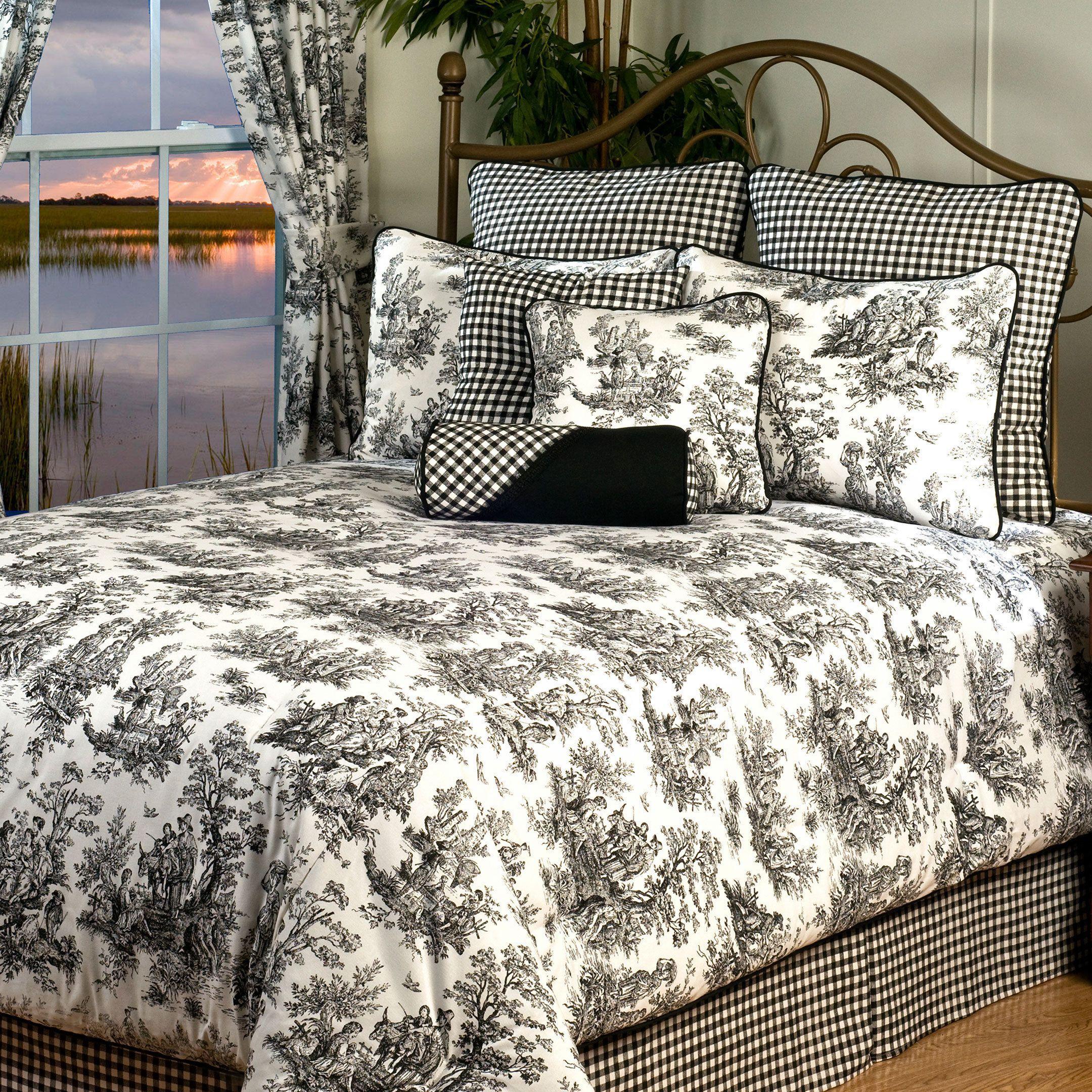 Plymouth King 10 piece Bedding Set, Black (Cotton, Toile) | Mom