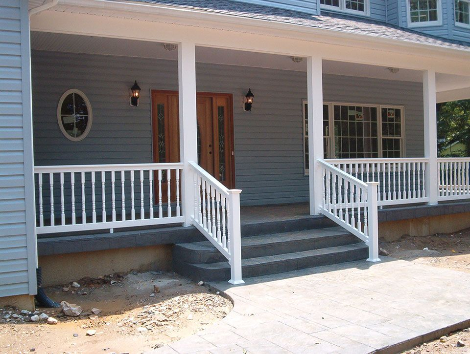 pin fence porch railing columns and company posts vinyl hoover railings pictures