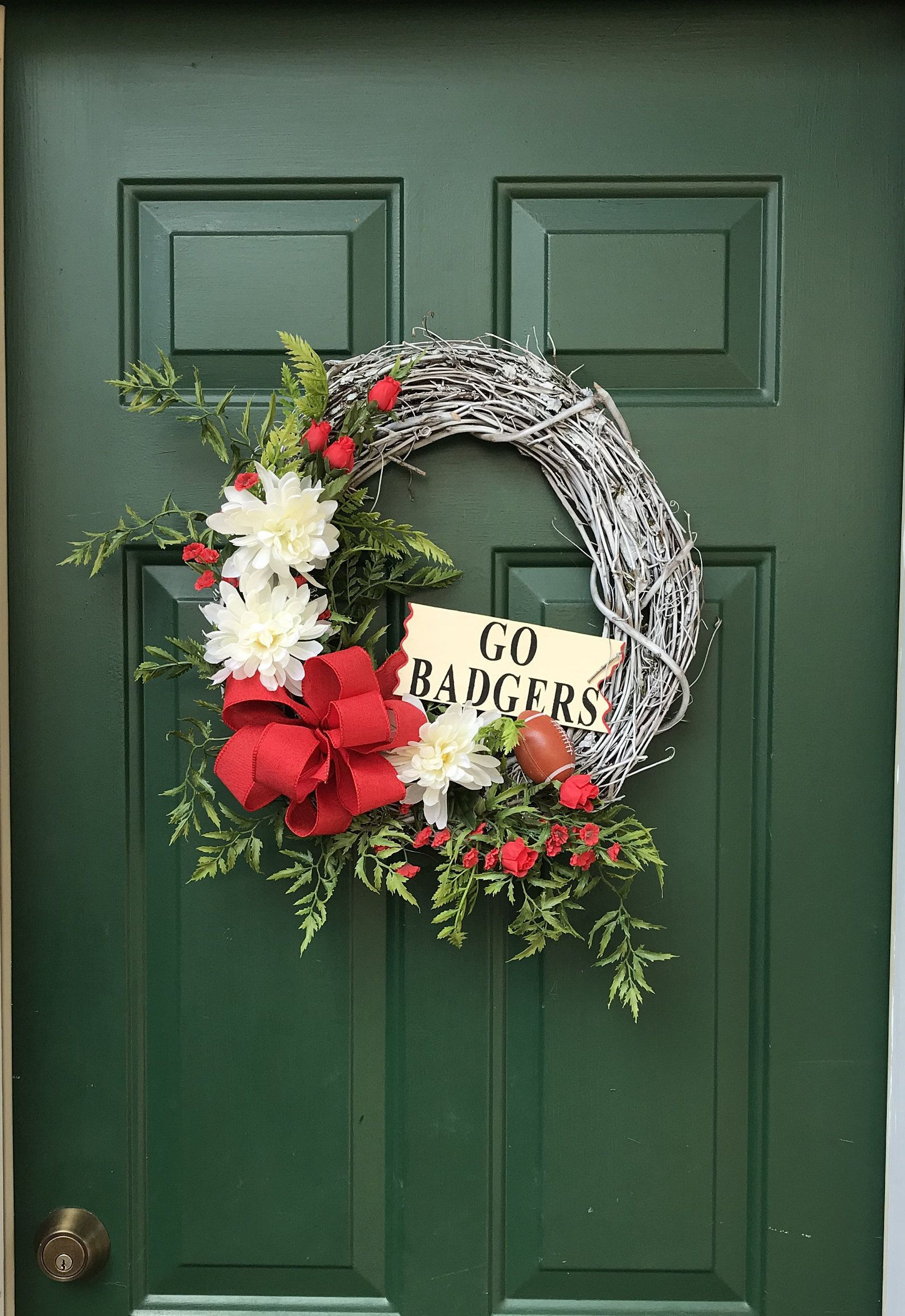 Photo of GO BADGERS Wisconsin Badger Wreath-Wisconsin Badger Front Door Wreath-Wisconsin Badger Vine Wreath-Badger Football Front Door Wreath