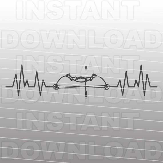 Bow Hunting Heartbeat SVG File,Bow Hunting SVG File,Deer