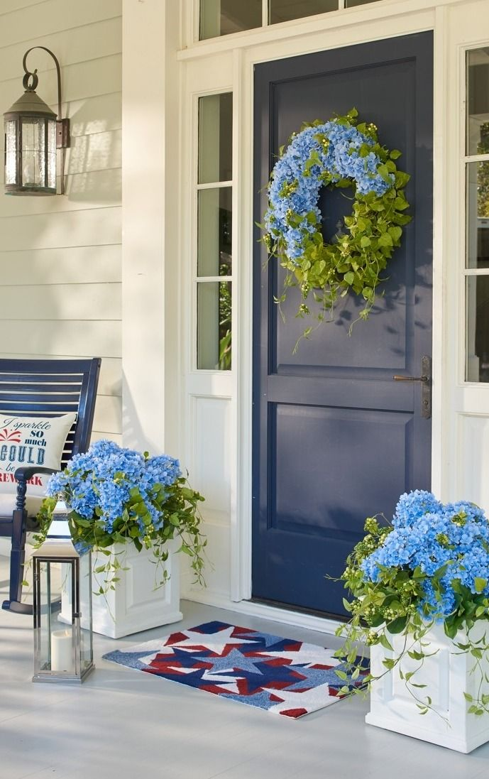 Haley Hydrangea Greenery & Haley Hydrangea Greenery | Porch Front doors and Front porches