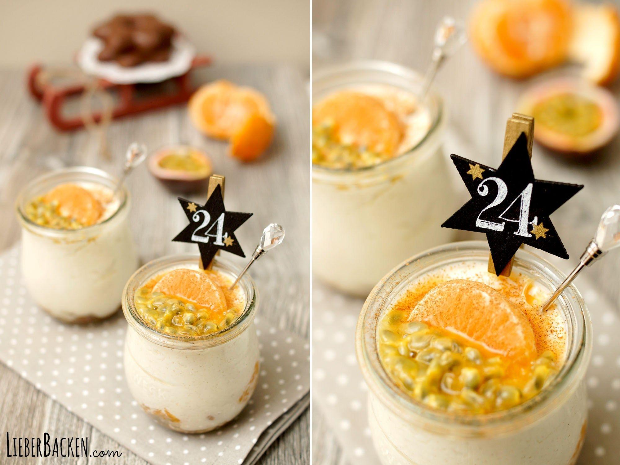 Weihnachtliches Dessert im Glas: Lebkuchen-Zimtcreme mit Mandarinen | LieberBacken