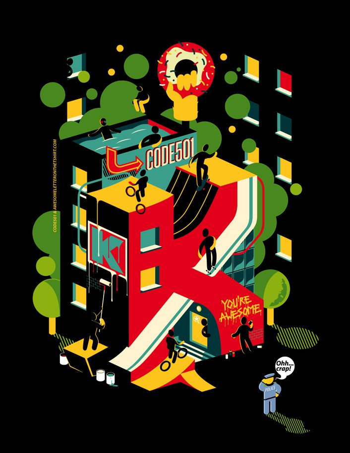Awesome letter on the t-shirt #2 on Behance