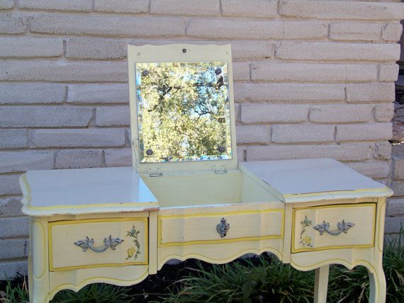 French Provincial Vanity With Fold Down Mirror Love It