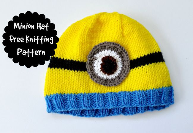 Free Minion Hat Knitting Pattern Free Knitted Hats Pinterest